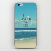 bible verse iPhone & iPod Skins featuring He Restoreth My Soul Bible Verse with Beach by Quote Life Shop