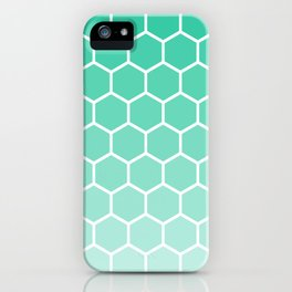 Teal gradient honey comb pattern iPhone Case