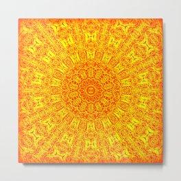 Yellow Earth Mandala Metal Print