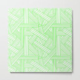 Sketchy Abstract (Light Green & White Pattern) Metal Print