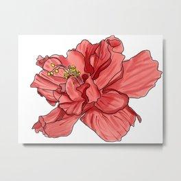 Watercolor Hibiscus Digital Design Metal Print