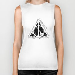 Deathly Hallows - brenches and stag - voids and silhouette (black) - Expecto Patronum | potterheads Biker Tank