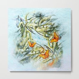 beautiful painted butterflies on wattle Metal Print