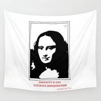 da vinci Wall Tapestries featuring SIMPLICITY IS THE  ULTIMATE SOPHISTICATION..Leonardo Da Vinci.. by Huda Mulla