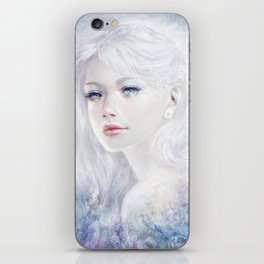 Ethereal - White as ice beatiful girl portrait iPhone Skin