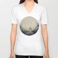 marc johns V-neck T-shirts featuring St. Johns Bridge by Leah Flores