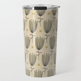 Bergamo Flowers and Suns - Midcentury Modern Floral Dot Pattern in Retro Gray, Mustard Yellow, and Beige Travel Mug