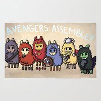alpaca Area & Throw Rugs featuring Alpaca Avengers by Angela Tran