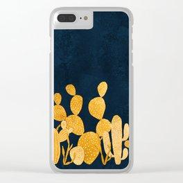 Golden cactus garden Clear iPhone Case