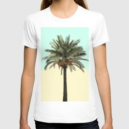 Palm Tree on Cyan and Lemon T-shirt
