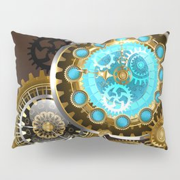 Unusual Clock with Gears ( Steampunk ) Pillow Sham