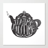 lettering Canvas Prints featuring TEA TIME. ANY TIME. by Matthew Taylor Wilson