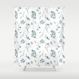 Spring Floral Bouquets Watercolor in Dusty Blue Shower Curtain