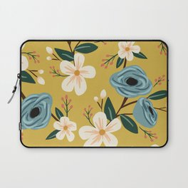 Mustard and Blue Floral Laptop Sleeve
