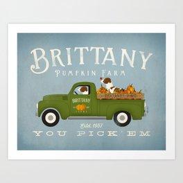 Brittany dog pumpkin farm Art Print