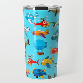 Cute Airplanes Helicopters Airships  Pattern Travel Mug