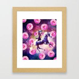 Thug Space Cat On Unicorn - Donut Framed Art Print