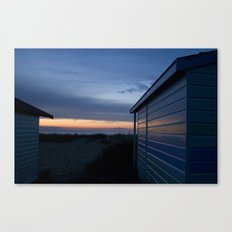 Beach Huts at Sunset Canvas Print