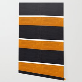 Black Yellow Ochre Rothko Minimalist Mid Century Abstract Color Field Squares Wallpaper