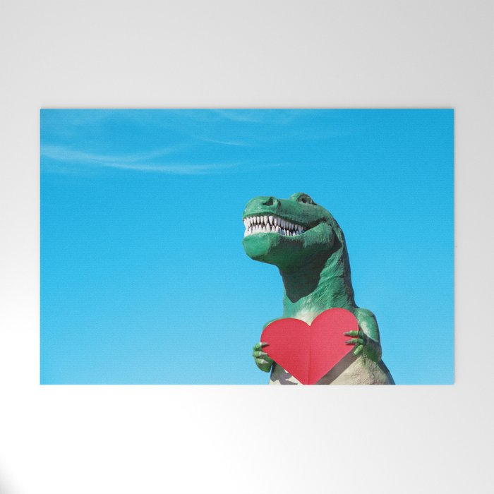 Tiny Arms, Big Heart: Tyrannosaurus Rex with Red Heart Welcome Mat