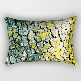 Yellow and Green Spotted Abstract Pigmented Tree Bark Print Rectangular Pillow