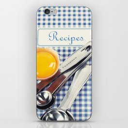 Blue cookbook and kitchenware iPhone Skin