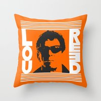 lou reed Throw Pillows featuring Lou Reed by Silvio Ledbetter