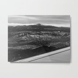5280 Snowcap // Grainy Black & White Airplane Wing Landscape Photography of Colorado Rocky Mountains Metal Print