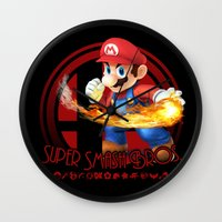 mario bros Wall Clocks featuring Mario - Super Smash Bros. by Donkey Inferno