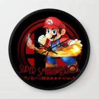 super smash bros Wall Clocks featuring Mario - Super Smash Bros. by Donkey Inferno