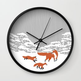 Foxes - Winter forest Wall Clock