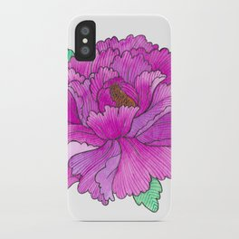 Wild Peony Watercolor iPhone Case