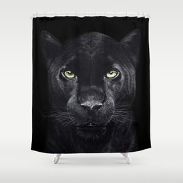 Panther on black Shower Curtain