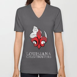 Louisiana Ghostbusters Distressed Logo Unisex V-Neck