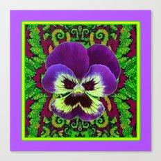 Purple PANSY Green Garden art Canvas Print