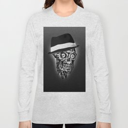 Elegant Skull with hat, B&W Long Sleeve T-shirt