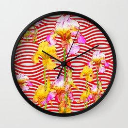 Oriental Red Wave Iris Water Garden Wall Clock