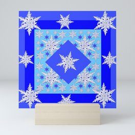 DECORATIVE BABY BLUE SNOW CRYSTALS BLUE WINTER ART Mini Art Print