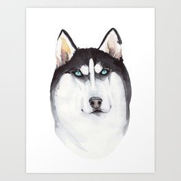 watercolor blue-eyed husky Art Print