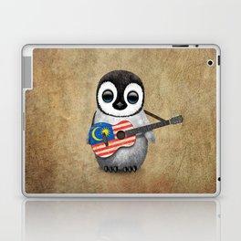 Baby Penguin Playing Malaysian Flag Acoustic Guitar Laptop & iPad Skin