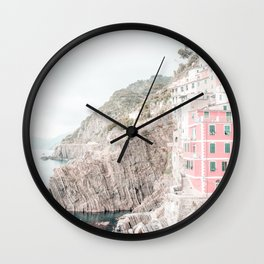 Positano, Italy pink travel photography in hd. Wall Clock