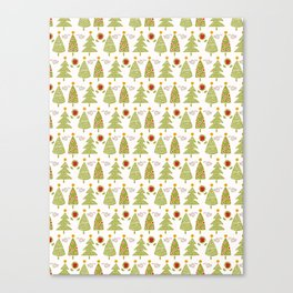 Traditional Christmas Trees Doodle Canvas Print