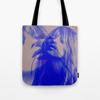 kate moss Tote Bags featuring double Kate blues (kate moss) by Kiki collagist