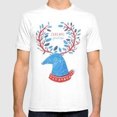 Reindeer Seasons Greetings White Mens Fitted Tee MEDIUM
