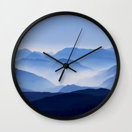 Periwinkle Landscape Mountains Parallax Wall Clock