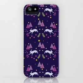 Hares Flowers And Trees On Dark Blue iPhone Case