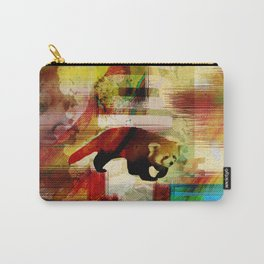 Red Panda Abstract  mixed media art collage Carry-All Pouch