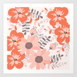 Big Flowers in Pink and Coral Red Art Print