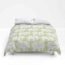 Troop Of Elephants (Elephant Pattern) - Gray Green Comforters