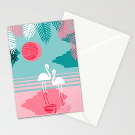 Chill Vibes - memphis retro throwback 1980s 80s neon pop art flamingo paradise socal vacation Stationery Cards